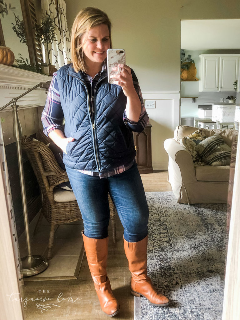 Fall Fashion Essentials | Fall Wardrobe Essentials Fall Transition Pieces | Puffy Vest | Button-Down Shirt | Riding Boots