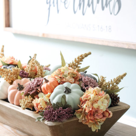 DIY Dough Bowl and Pumpkin Fall Centerpiece