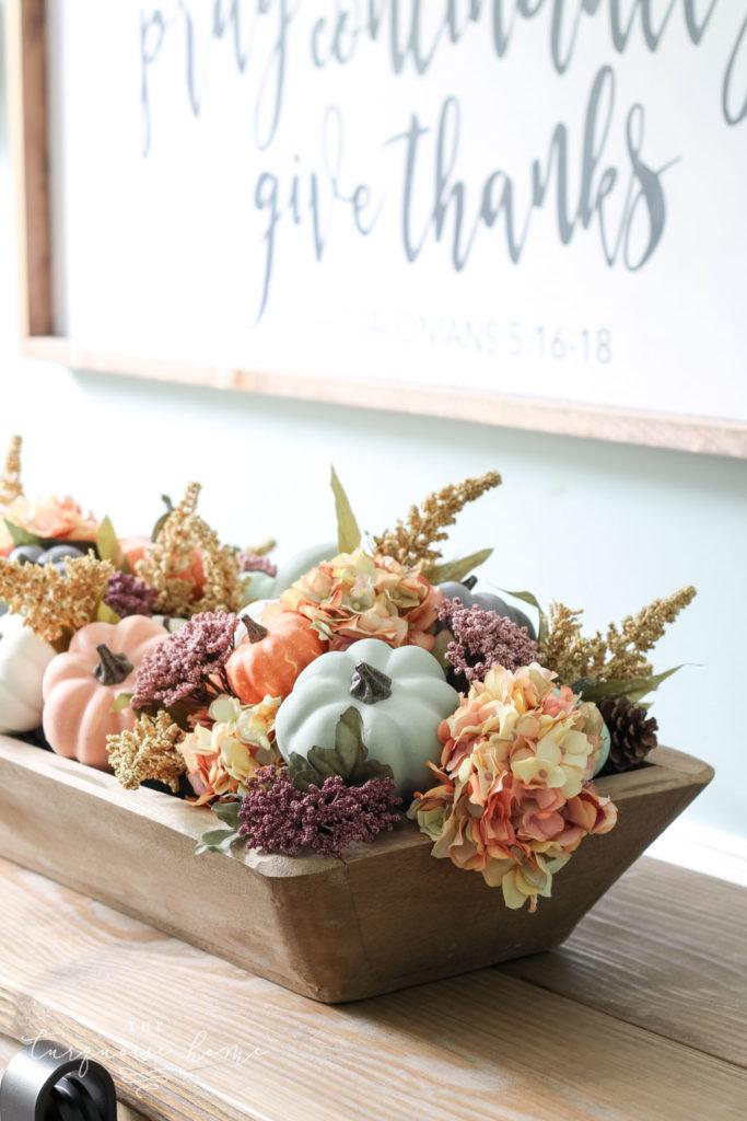 DIY Dough Bowl and Pumpkin Fall Centerpiece
