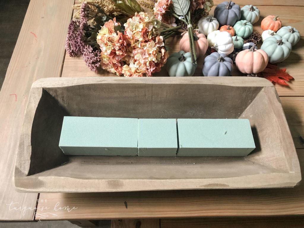 DIY Pumpkin & Dough Bowl Floral Fall Centerpiece