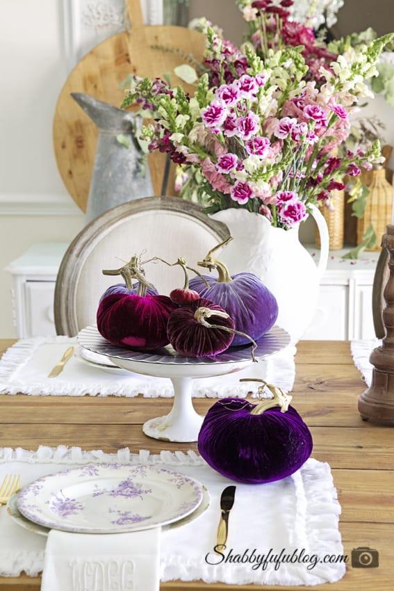 Velvet jewel tone fall decor from Shabby FuFu