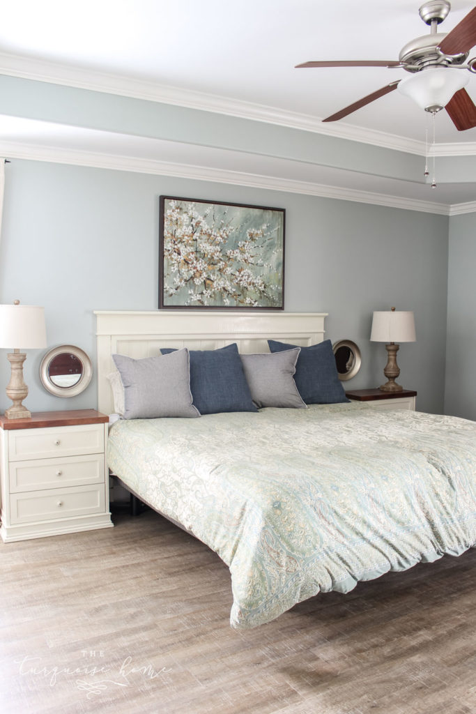 Master Bedroom without a rug under the bed, LVP floors, CoreTEC Boardwalk Oak, Farmhouse-style master bedroom