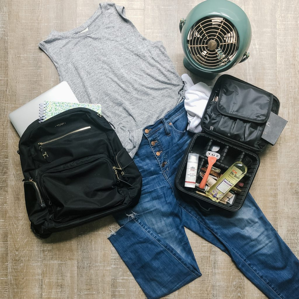 Summer Favorites from The Turquoise Home 2019 | jeans, tank top, tumi carson backpack, travel makeup case, facial sunscreen, lavender bath oil, Billie razor, vornado fan