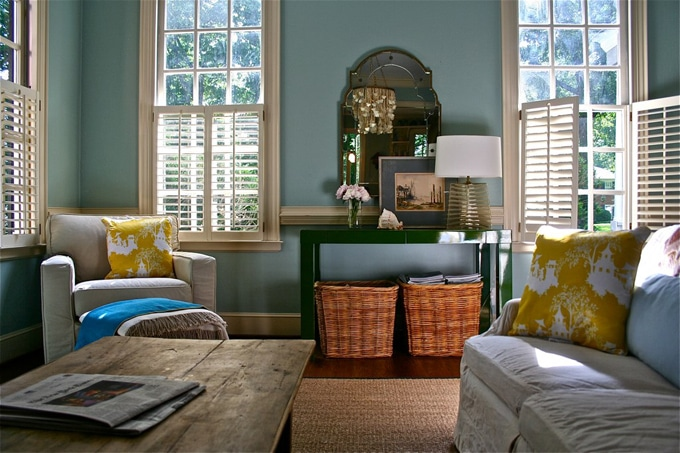 Classic living room with Wythe Blue painted walls