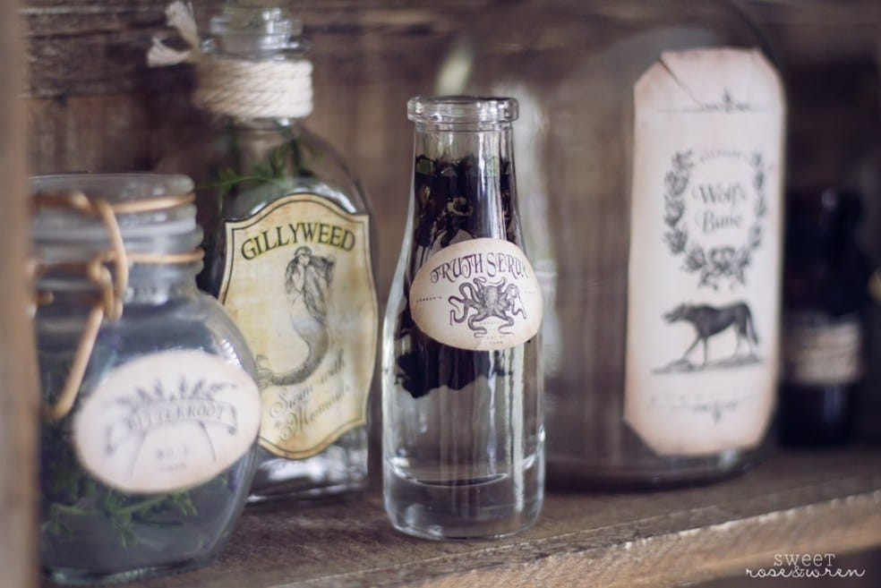 Use plain glass jars to make spooky apothecary jars in your Halloween decor.