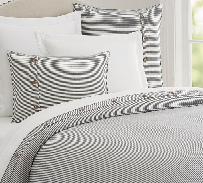 Navy and White Duvet with Button Trim | farmhouse bedding