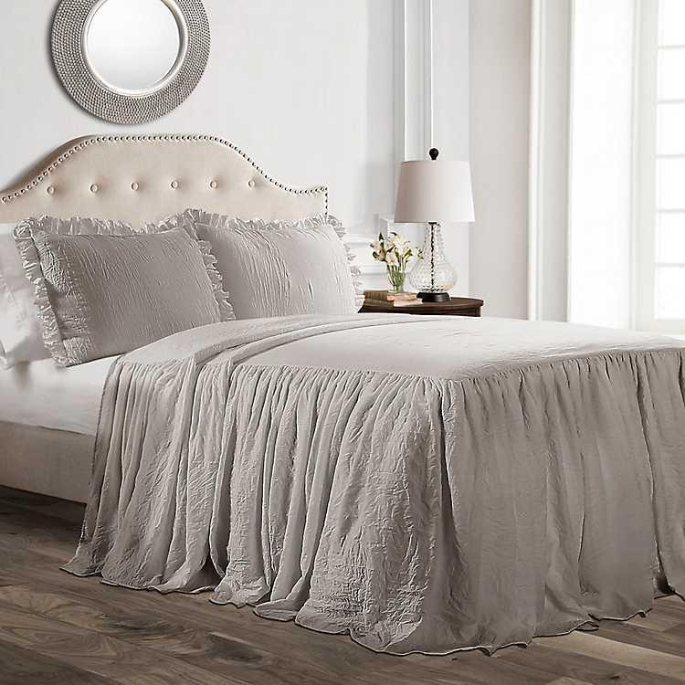 Gray Ruffle Skirt Comforter | farmhouse bedding