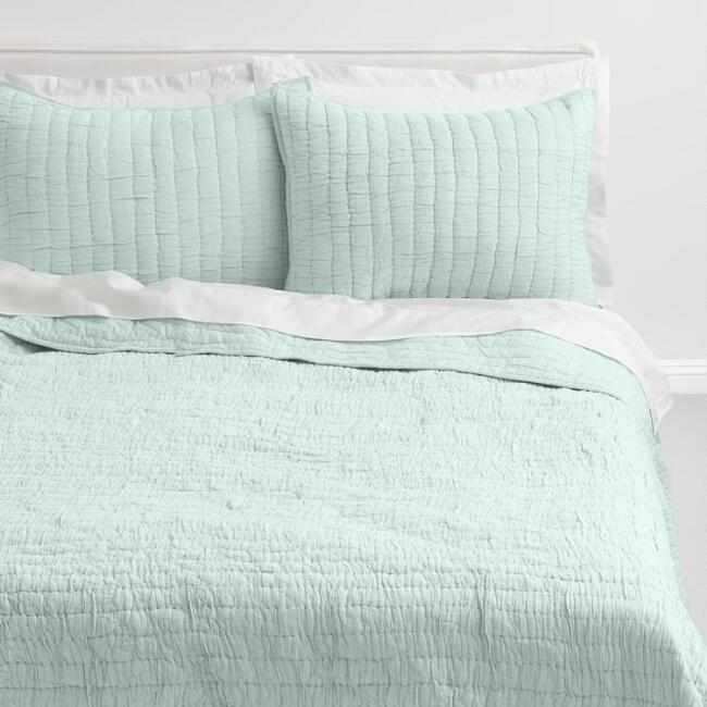 Jade Green Ruched Quilt | farmhouse bedding