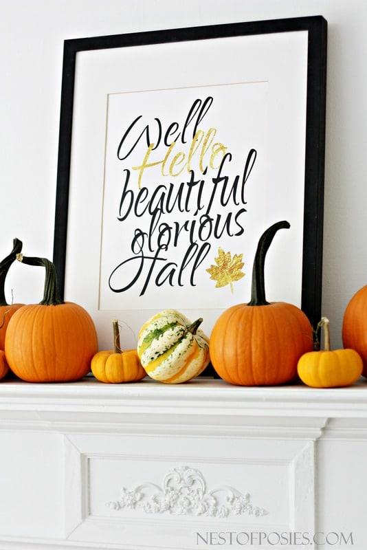 Gold Lettered Fall Printable | 25+ Free Fall Printables
