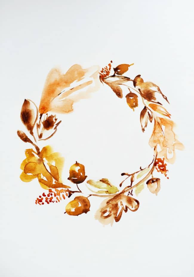 Fall Watercolor Wreath Printable | 25+ Free Fall Printables