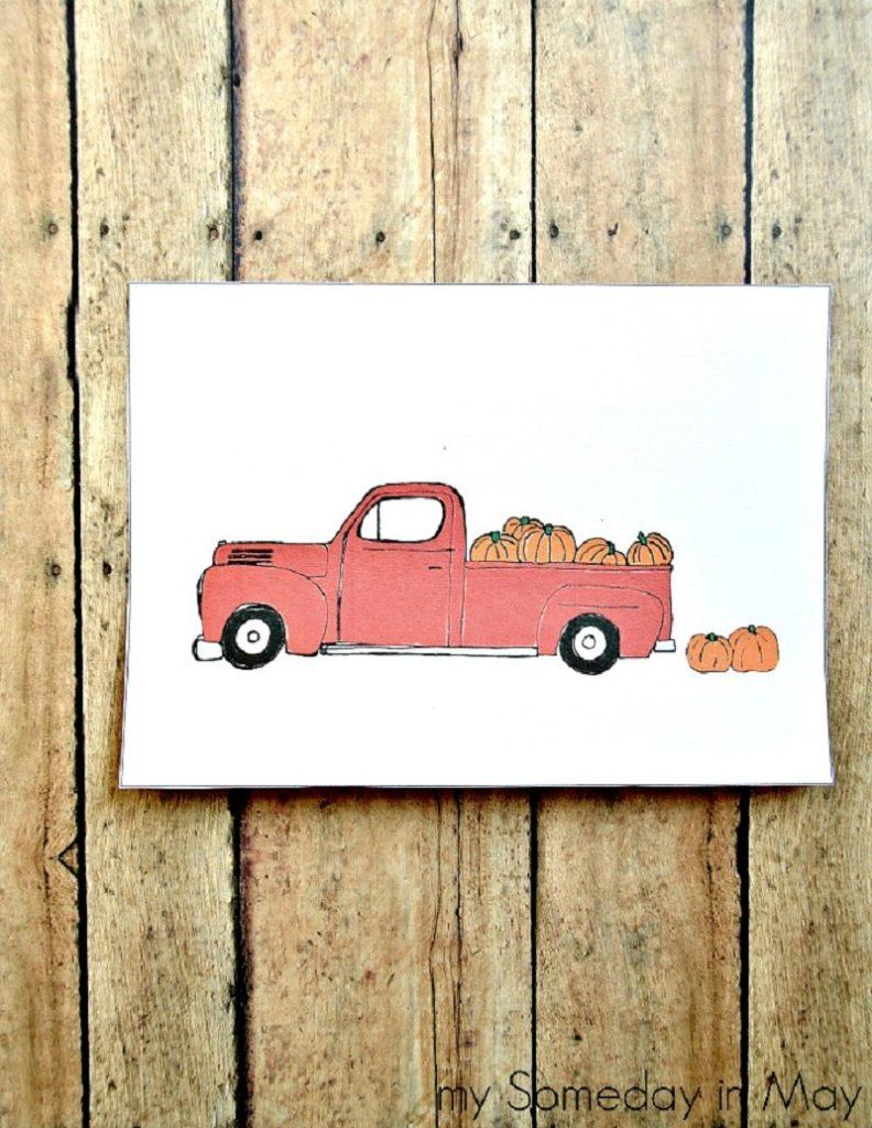 Pumpkin Truck Printable | 25+ Free Fall Printables