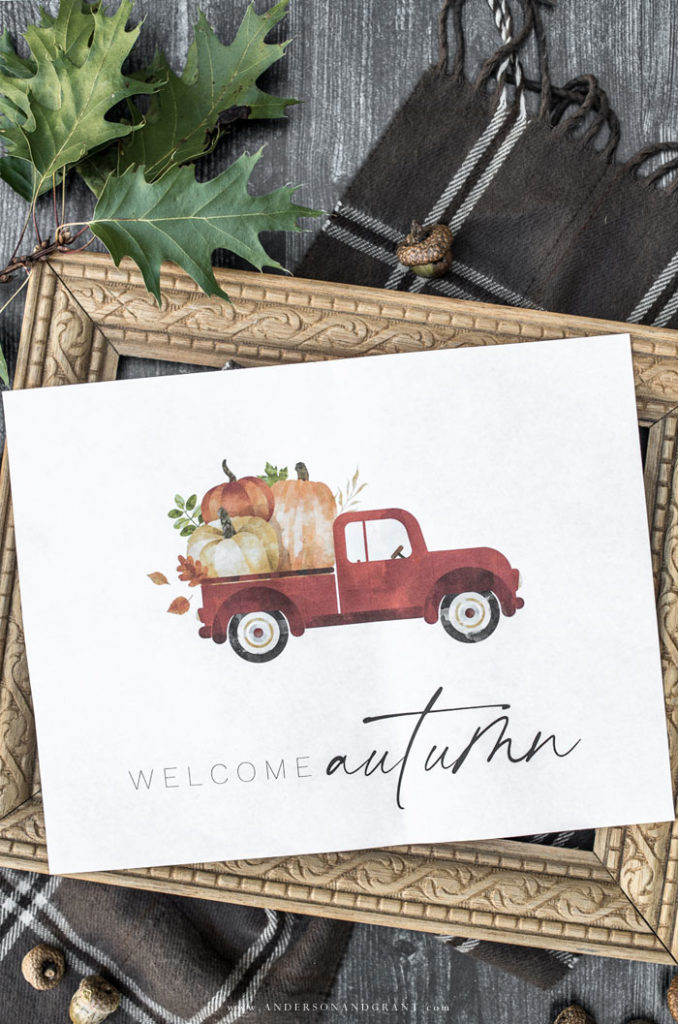 Welcome Autumn Truck with Pumpkins | 25+ Free Fall Printables