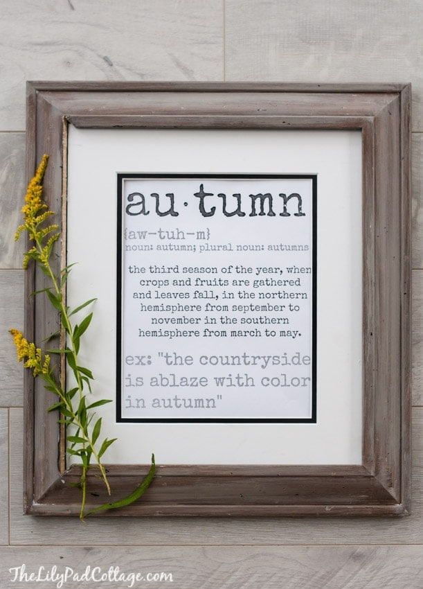 Autumn Definition Printable | 25+ Free Fall Printables