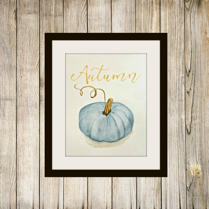 Blue Watercolor Pumpkin Printable | 25+ Free Fall Printables