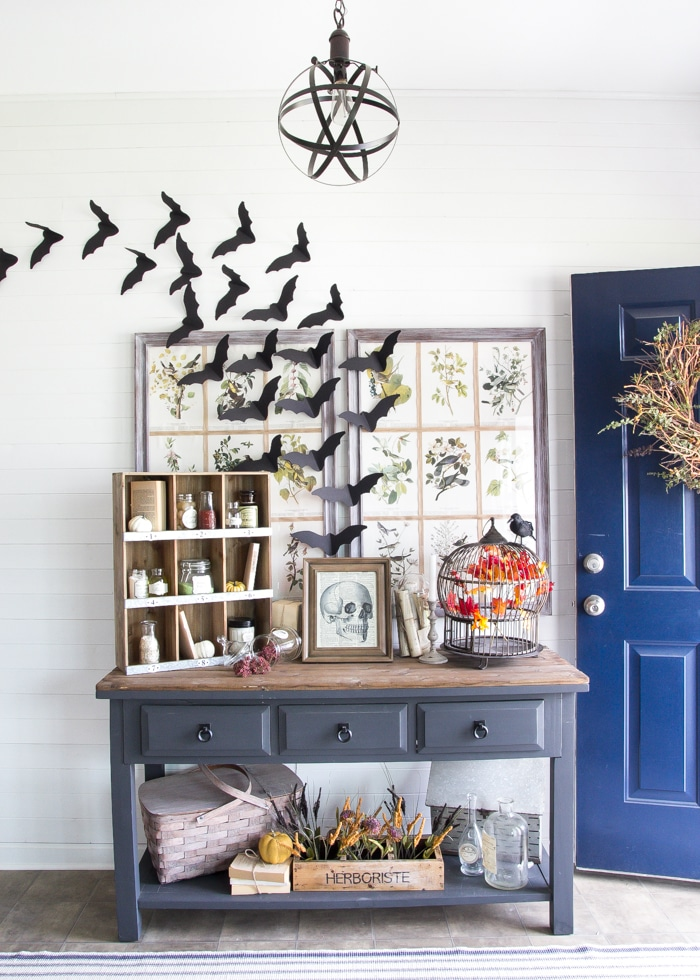Halloween Apothecary Station with plain glass bottles and free printables!