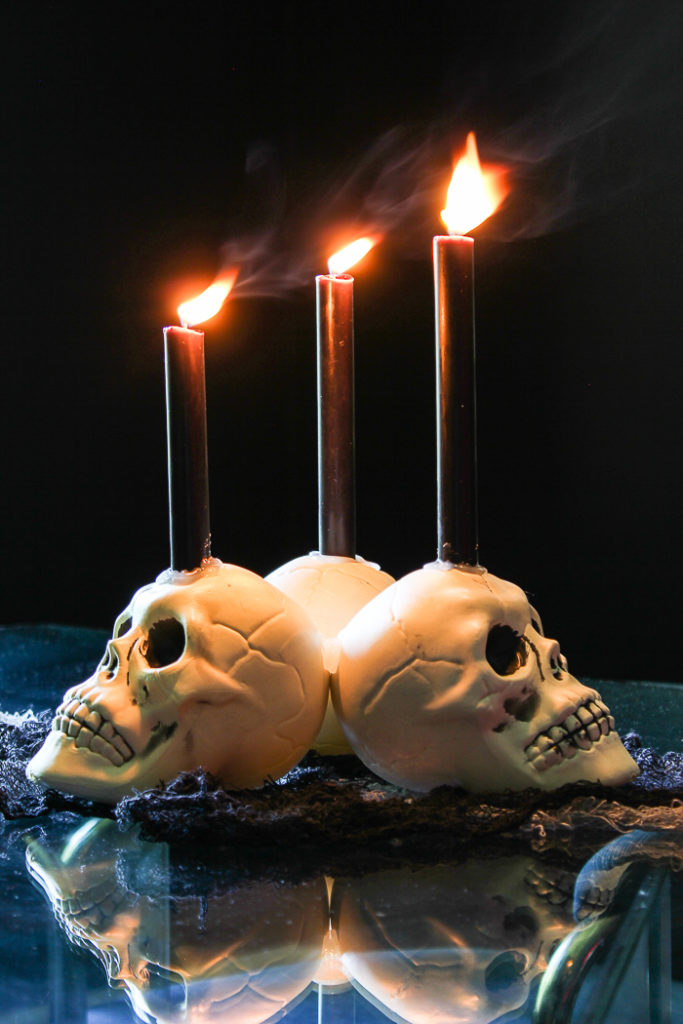DIY Skull Candelabra Centerpiece for Halloween