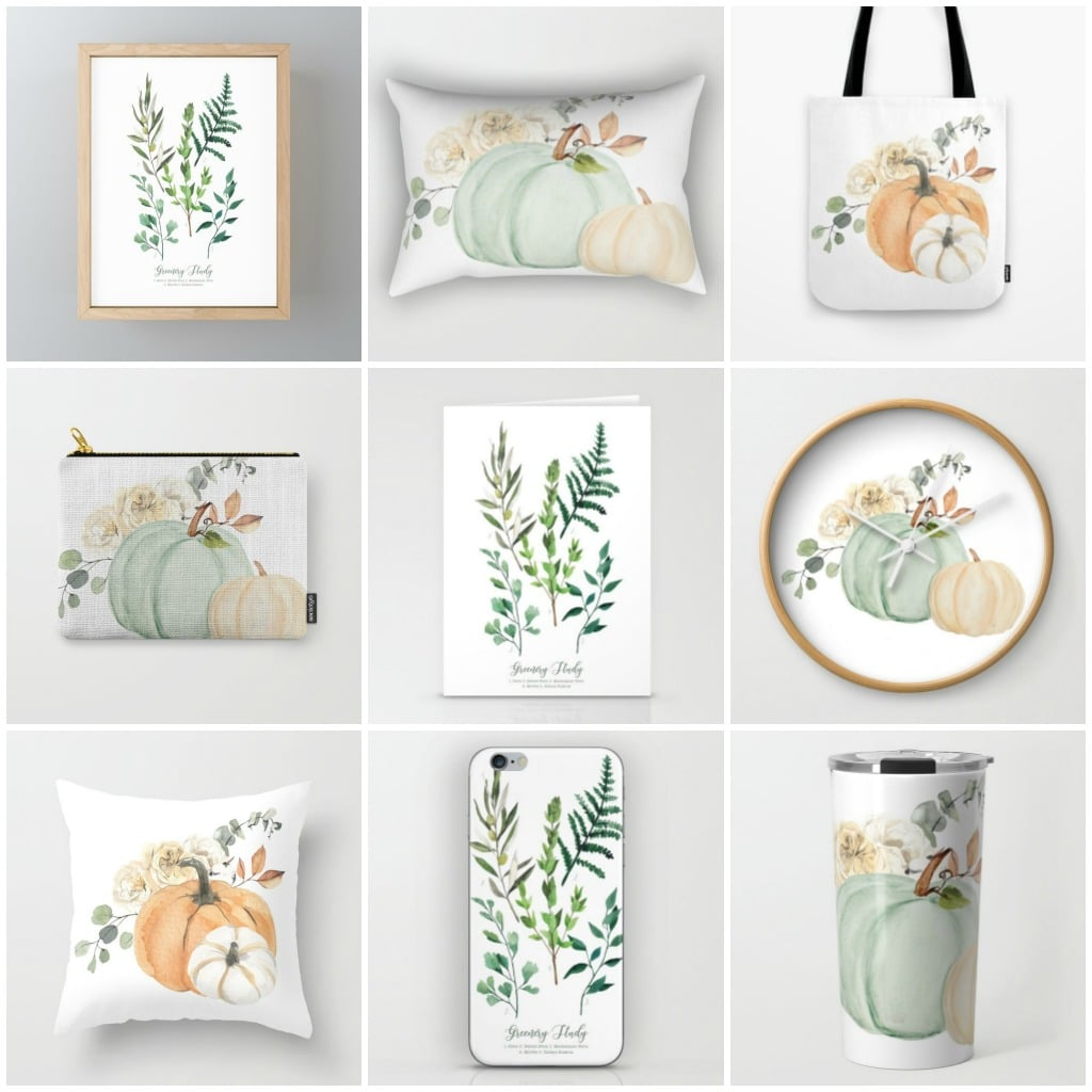 Fall florals, greenery, pumpkins and more on pillows, printed art, clocks, tote bags and more!