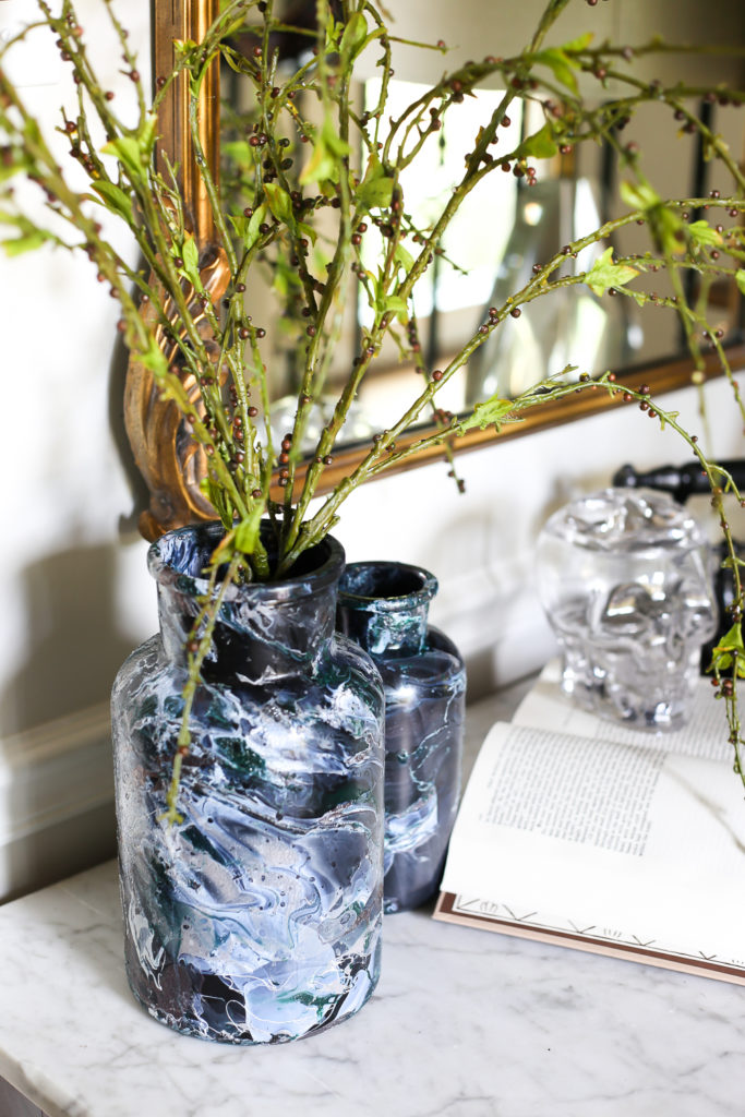DIY Black Marbled Vases are the perfect understated, not scary Halloween decor!