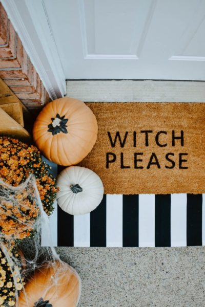 """Witch Please"" doormat decor for Halloween"