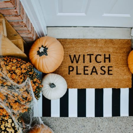 """Witch Please"" doormat decor for Halloween"