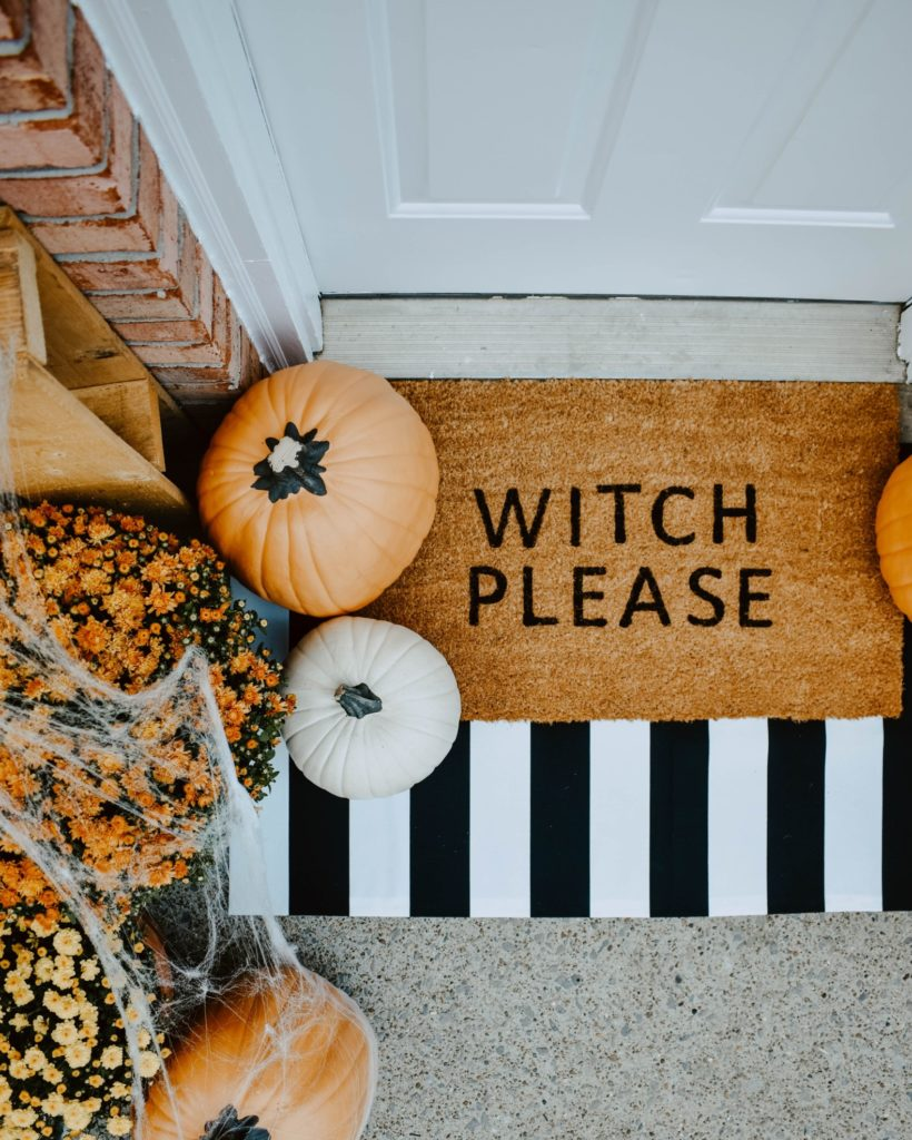 """Witch Please"" doormat for Halloween"