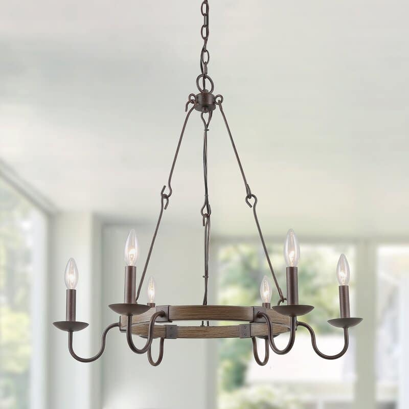 Wagon Wheel Farmhouse Chandelier