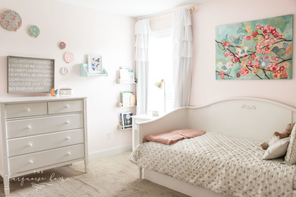 Rooms decor ideas for girls | girls bedroom ideas | gold, pink and turquoise girls bedroom decor - hoop art and white daybed with white dresser