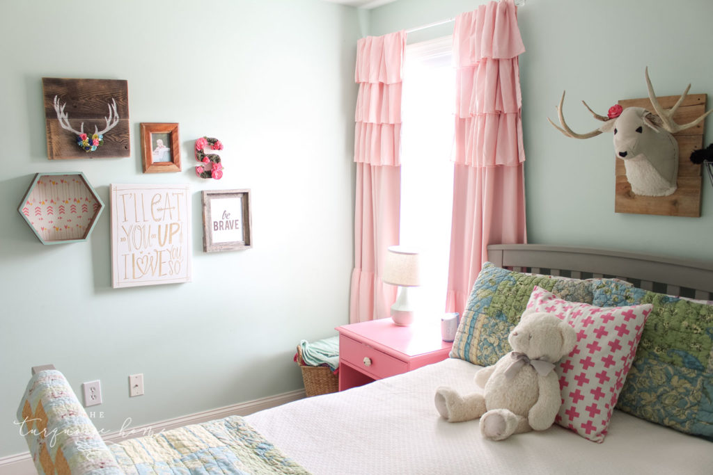 Rooms decor ideas for girls | girls bedroom ideas | turquoise and pink girls bedroom decor - Pink ruffled black out curtains