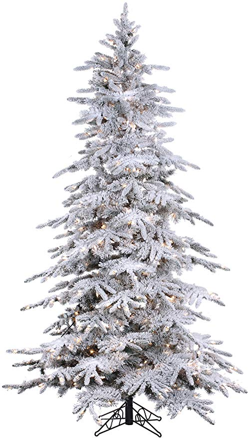 The BEST Artificial Christmas Trees | 7.5' Flocked Bavarian Pine, Pre-Lit Artificial White Christmas Tree