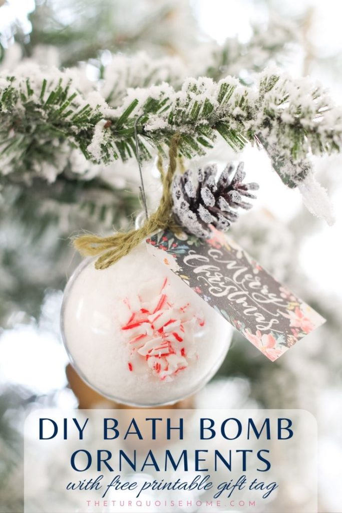 DIY Bath Bomb Christmas Ornament with Free Printable Gift Tags