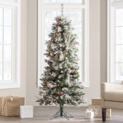 The BEST Artificial Christmas Trees | Frosted Berry Green Pine Christmas Tree with 200 Clear Lights