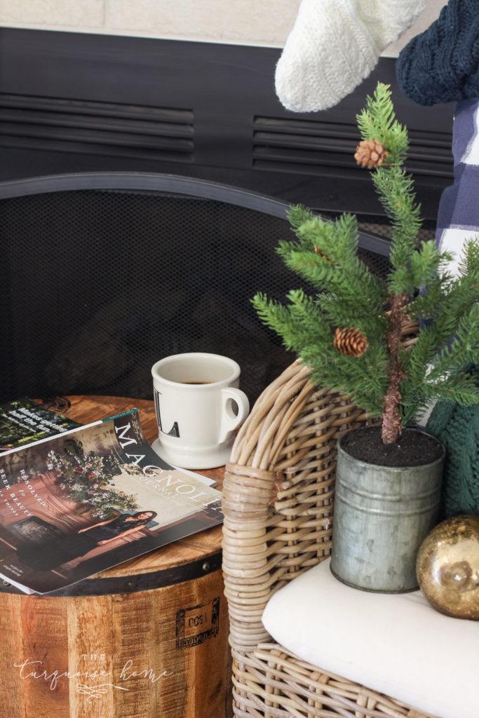 Green and Navy Simple Christmas Mantel - the Magnolia Journal magazine