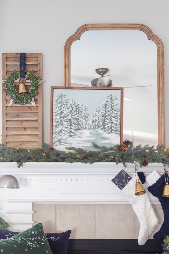 Green and Navy Simple Christmas Mantel - snowy scene art canvas layered over a large mirror