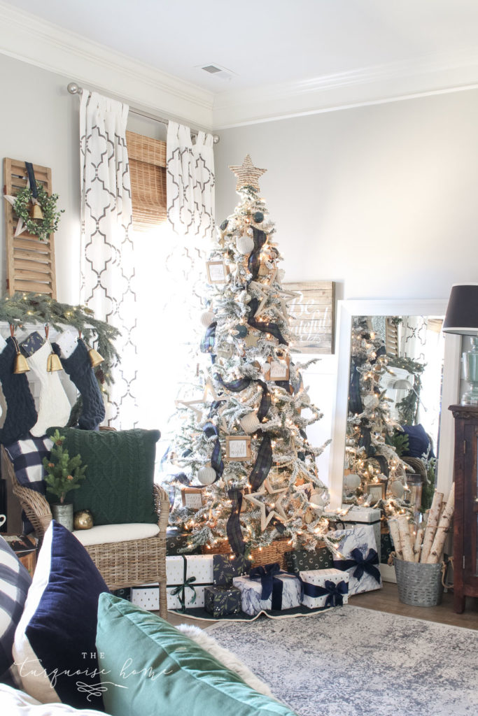Beautiful Corner Christmas Tree Decor with neutral ornaments and blue and green plaid ribbon