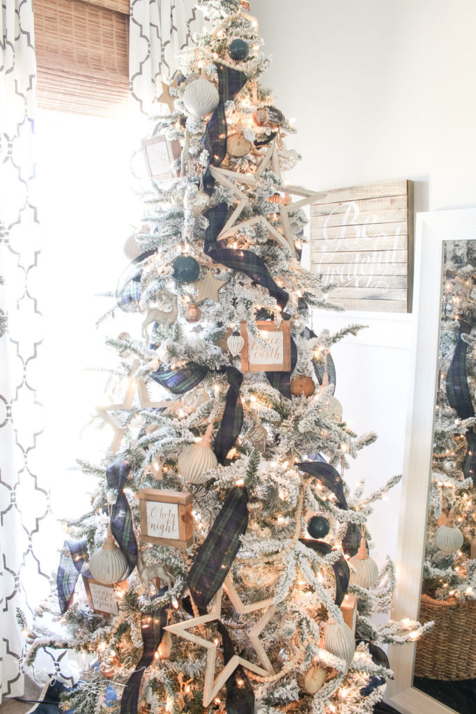 Flocked Christmas Tree with DIY ornaments and new ornaments!