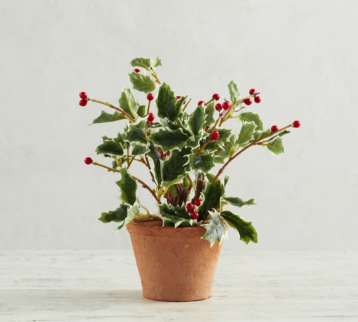 Faux Potted Holly Plant