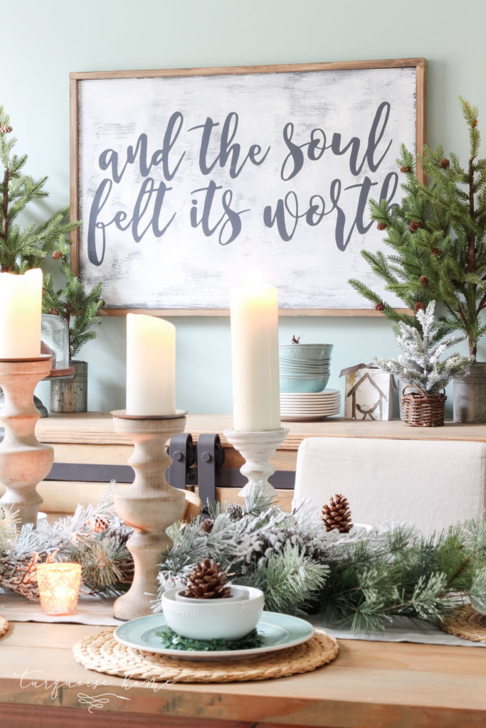 """And the soul felt its worth"" DIY large wooden sign for Christmas and winter"