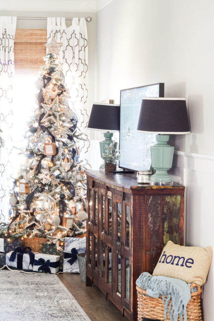 Classic, simple Christmas living room | flocked tree