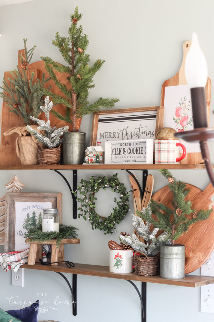 Christmas Open Shelf Decor