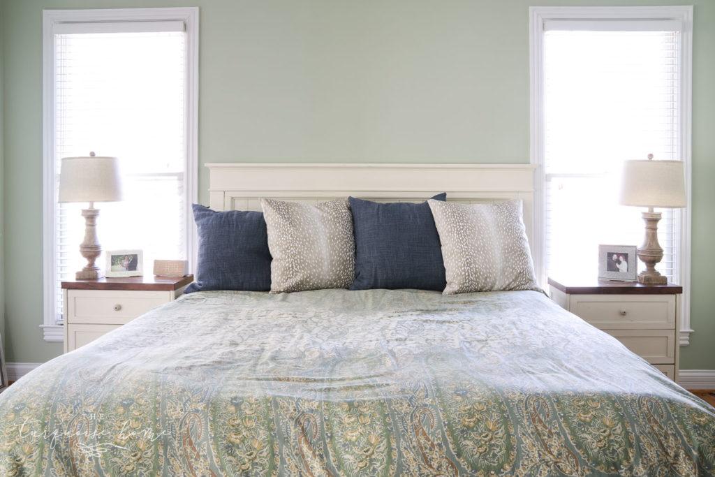 windows flanking master bed