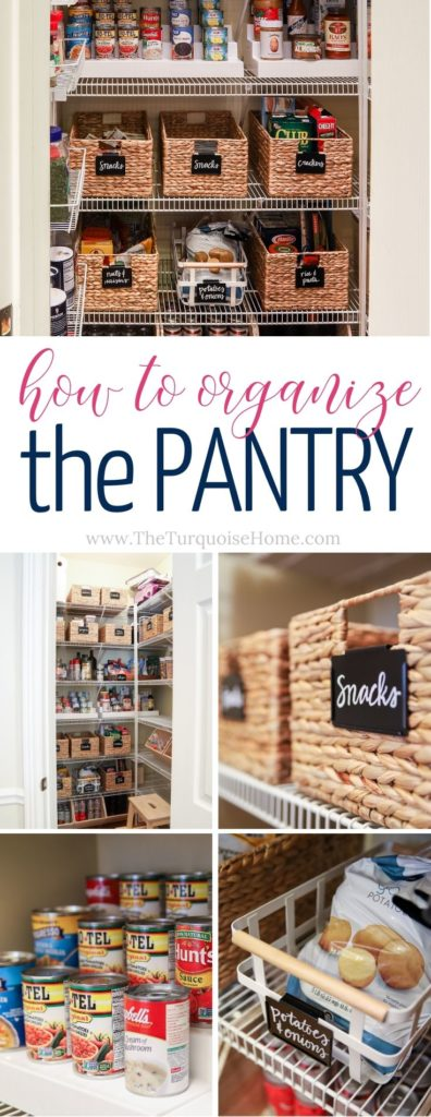 How to Organize a Pantry | Tips and Tricks for organizing a pantry | baskets, bins & chalkboard labels
