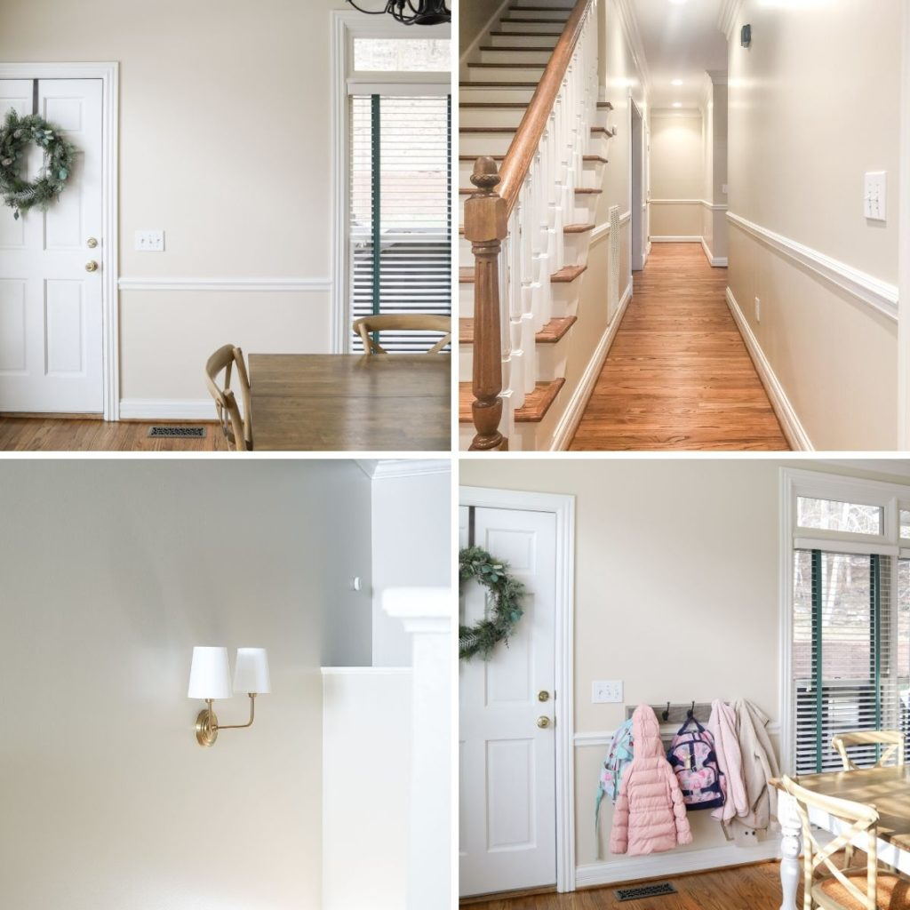 Edgecomb Gray wall color in a variety of lightings...