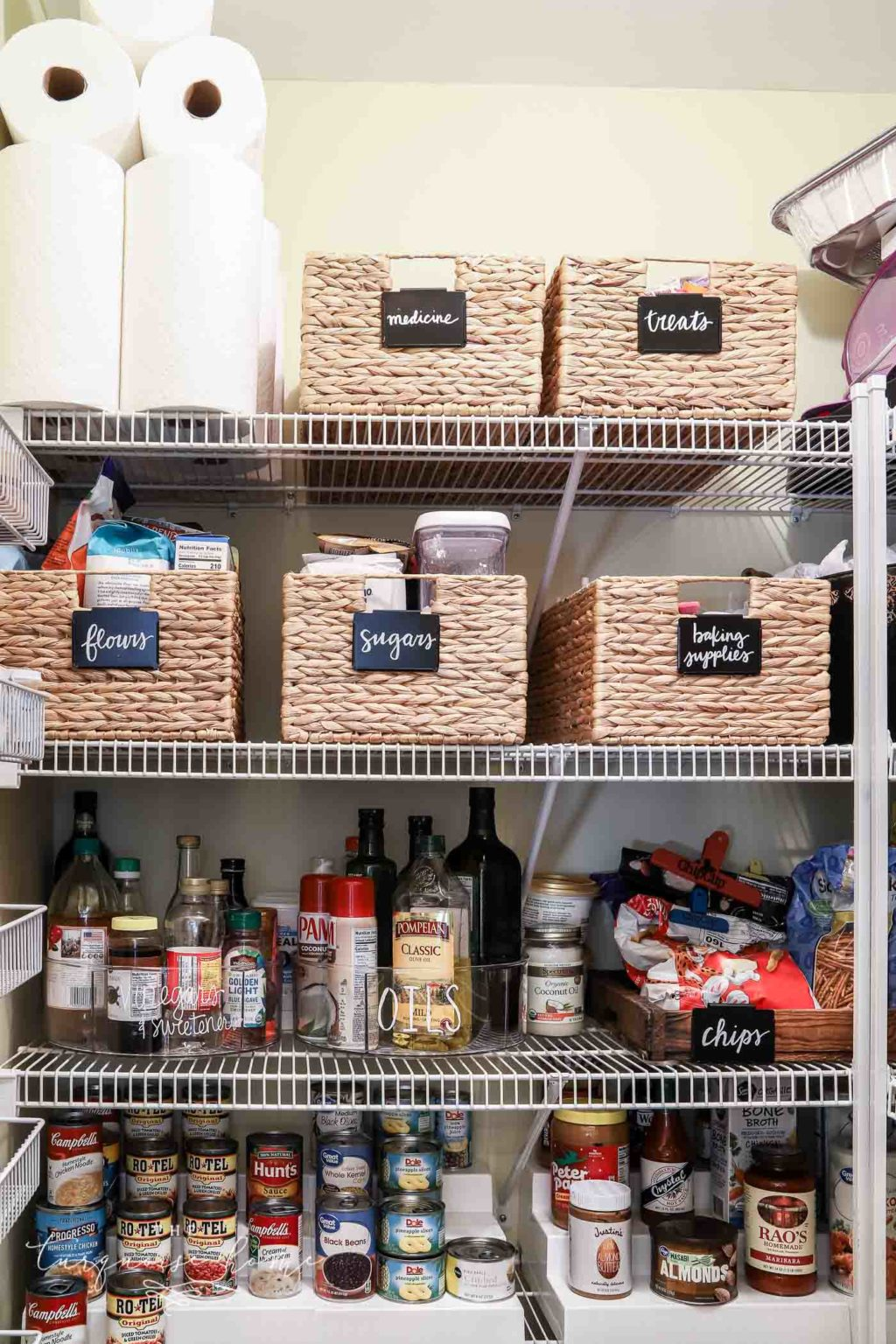 How to Organize a Pantry - label most things so that it STAYS organized | hyacinth baskets