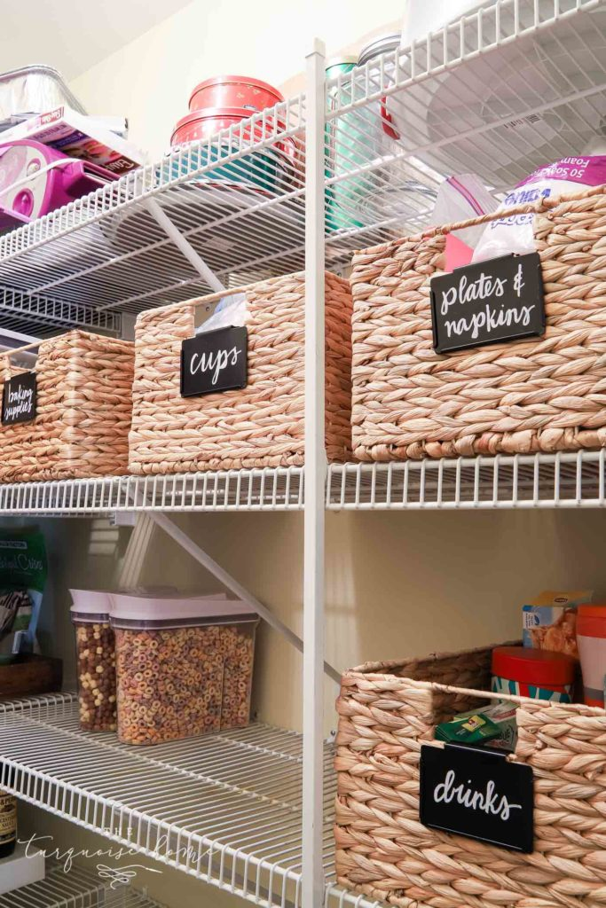 How to Organize a Pantry - baskets, labels and cereal dispensers