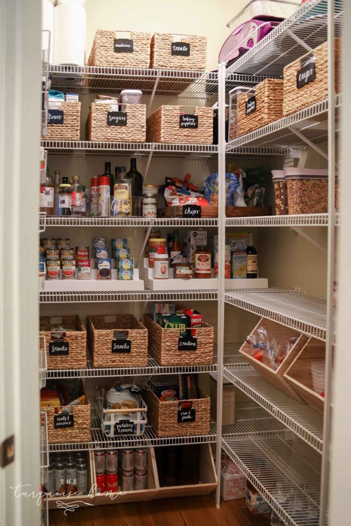 How to Organize a Pantry - pretty baskets with chalkboard labels | Tips and Tricks for organizing a pantry