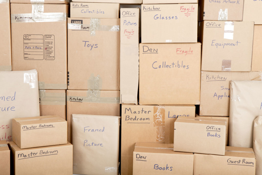Labeled moving boxes making life easier when unpacking