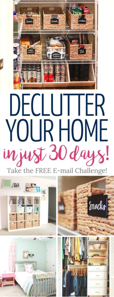 "Learn how to declutter your home in 30-days with this ""Less of a Hot Mess"" 30-Day Decluttering E-mail Challenge"