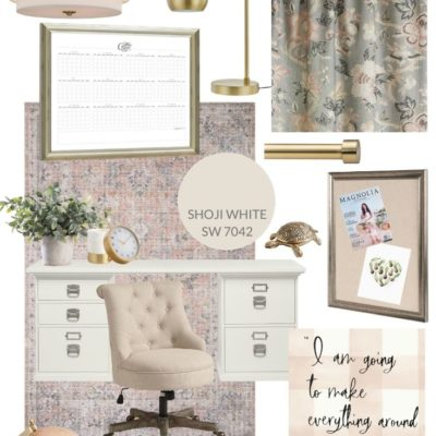 Feminine Blush and Brass Office Mood Board