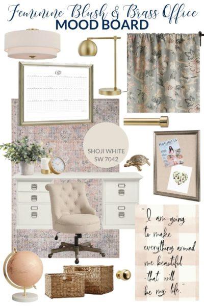 Feminine Blush and Brass Office Mood Board