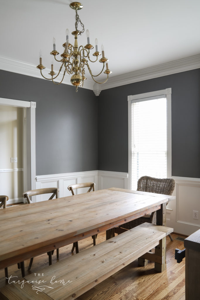 Kendall Charcoal walls in the dining room with lots of natural light